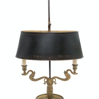 An Empire Style Brass and Painted Tôle Two-Light Bouillotte Lamp