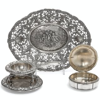 A Group of Three German Silver Holloware Articles