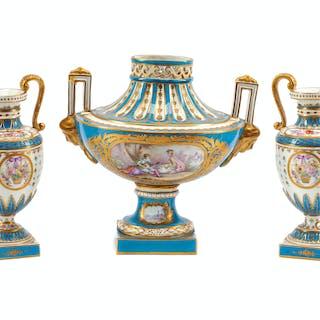 A Sèvres Style Porcelain Three-Piece Garniture