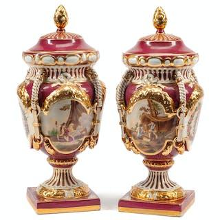 A Pair of Sèvres Style Porcelain Covered Potpourri
