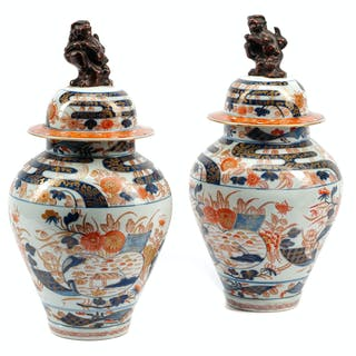 A Pair of Japanese Imari Porcelain Covered Jars