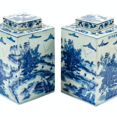 A Pair of Chinese Blue and White Porcelain Covered Tea Caddies