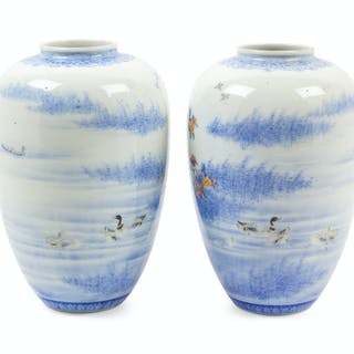 A Pair of Japanese Kakiemon Porcelain Jars