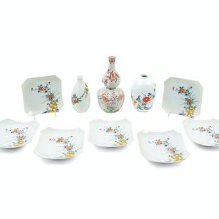 A Group of Ten Japanese Kakiemon Porcelain Articles