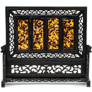A Chinese Carved Four-Panel Table Screen