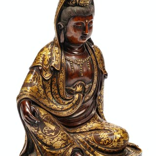 A Chinese Mixed Metals Inlaid Patinated Bronze Figure of Guanyin