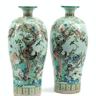 A Pair of Chinese Export Famille Verte Porcelain Vases