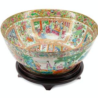 A Large Chinese Rose Medallion Porcelain Bowl