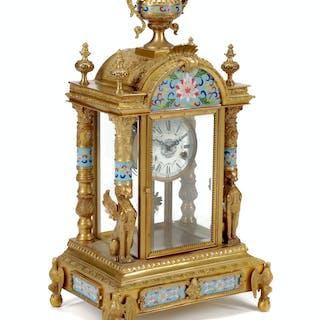 A Louis XVI Style Gilt Bronze and Cloisonné Mantel Clock