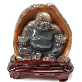 A Chinese Export Carved Agate Figure of a Seated Buddha