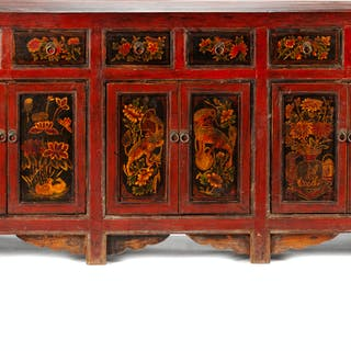 A Chinese Painted Sideboard