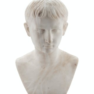 An Alabaster Bust of a Young Caesar Augustus