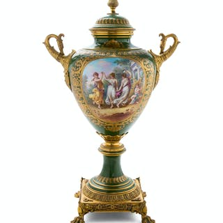 A Sèvres Style Gilt Bronze Mounted Urn