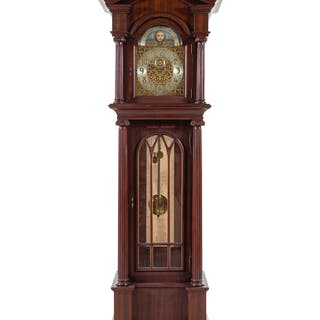 An American Mahogany Tube-Striking Tall Case Clock