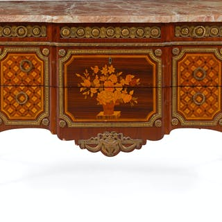A Transitional Style Gilt Bronze Mounted Marquetry Commode