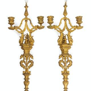A Pair of Neoclassical Gilt Bronze Two-Light Sconces