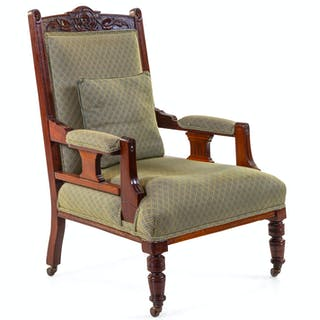 An Anglo-Indian Carved Hardwood Armchair