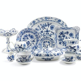 A Meissen Blue Onion Porcelain Dinner Service
