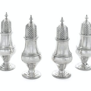 A Set of Four English Silver Casters