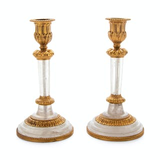 A Pair of French Gilt Bronze and Rock Crystal Candlesticks