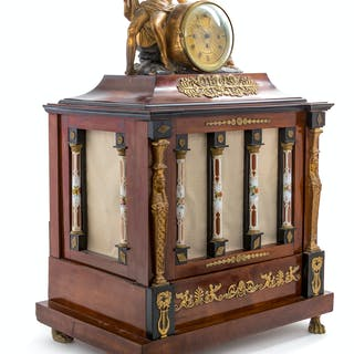 An Austrian Parcel Gilt and Enameled Glass-Mounted Mahogany Musical Clock