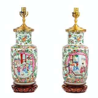 A Pair of Chinese Export Famille Rose Porcelain Jars Mounted as Lamps