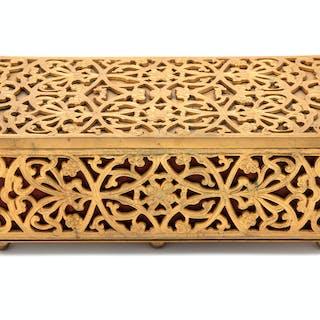 A Continental Gilt Metal Jewelry Box