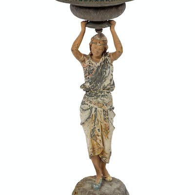 A Continental Polychrome Cast Metal Figural Stand