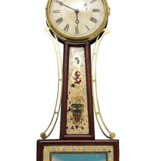 A Federal Mahogany Banjo Clock