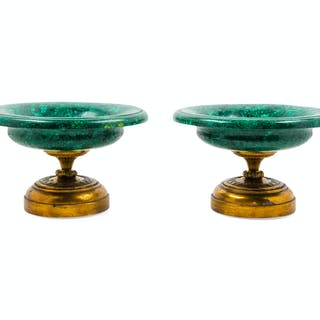 A Pair of Malachite-Veneered Tazze