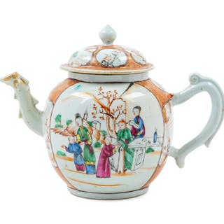 A Chinese Export Famille Rose Porcelain Teapot