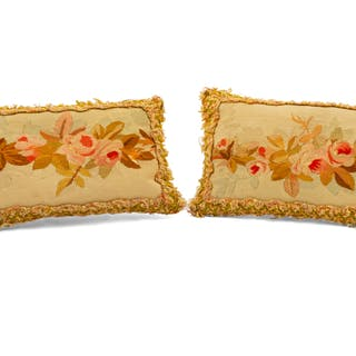 Four Aubusson Tapestry Upholstered Pillows