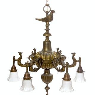 A Continental Brass Six-Light Chandelier