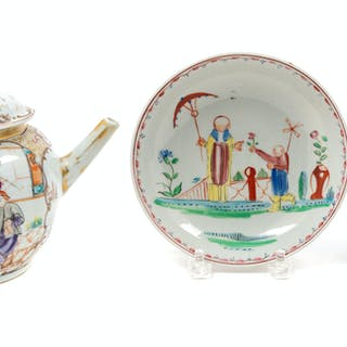 A Chinese Export Famille Rose Porcelain Teapot and Associated Cup and Saucer