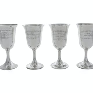 Four American Silver Trophy Goblets