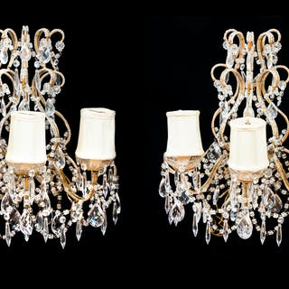 A Pair of Continental Giltwood and Cut Glass Three-Light Sconces