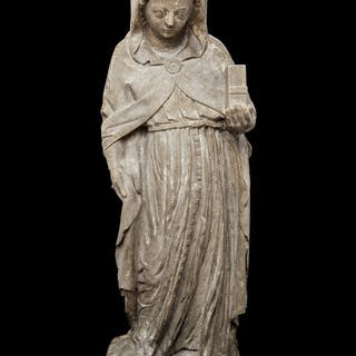 A French Carved Stone Figure of the Madonna