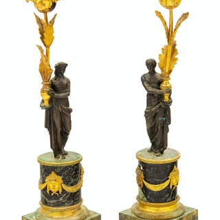 A Pair of Empire Style Gilt Bronze and Marble Candlesticks