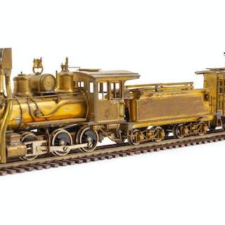 A United Scale Models Brass N-Gauge 2-6-0 Locomotive, Tender and Caboose