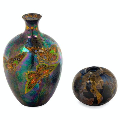 Two Polychrome Glass Vases