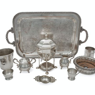 A Collection of Silver-Plate Serving Articles