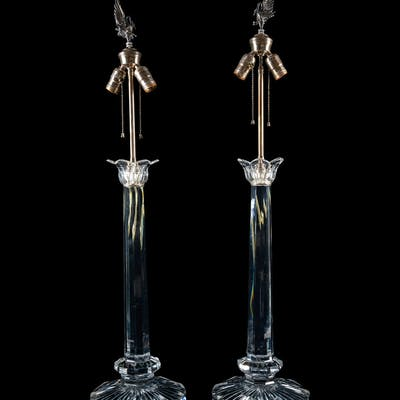 A Pair of Contemporary Cut Glass Lamps