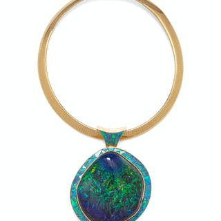 A 14 Karat Yellow Gold and Opal Pendant/Necklace, David R. Freeland Jr.