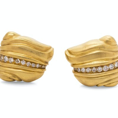 A Pair of 18 Karat Yellow Gold and Diamond Earclips