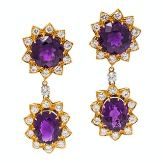 A Pair of Yellow Gold, Amethyst and Diamond Convertible Earclips