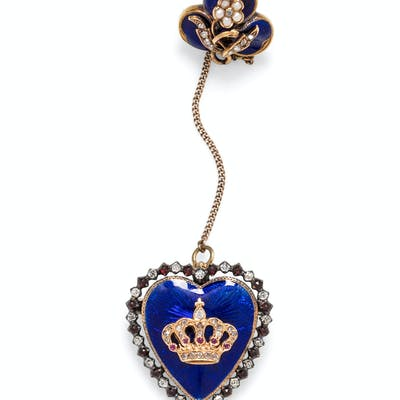 A Silver, Yellow Gold, Diamond, Garnet, Ruby and Enamel Double Mourning