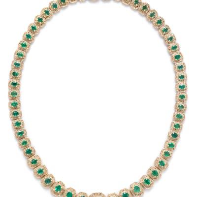 A 14 Karat Yellow Gold, Emerald and Diamond Necklace