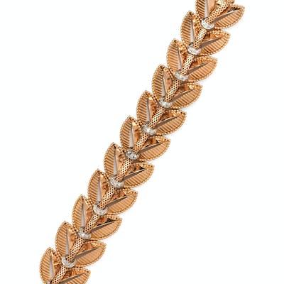 A Retro Yellow Gold, Platinum and Diamond Leaf Motif Bracelet