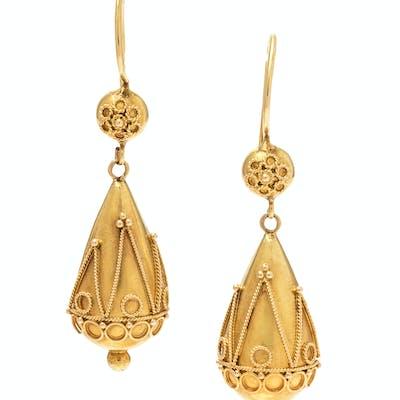 A Pair of Etruscan Revival 15 Karat Yellow Gold Earrings