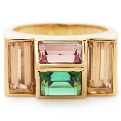 An 18 Karat Yellow Gold, Tourmaline and Topaz Ring, Paloma Picasso